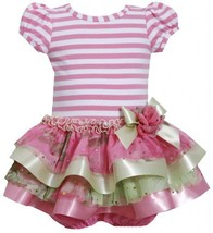 Pink Stripe Knit to Tier Mix Media Sparkle Dress PK1MH, Pink, Bonnie Jean Bab...