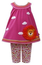 Fuchsia-Pink Lion Applique Knit Trapeze Dress/Legging Set FU2HA, Fuchsia, Bon...