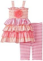Orange Pink Stripe Knit Tier Dress/Legging Set OR0SA, Orange, Bonnie Jean Bab...