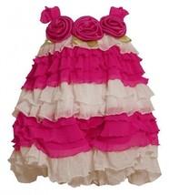Fuchsia-Pink and Ivory Colorblock Tiered Eyelash Ruffle Bubble Romper FU0SI ,...