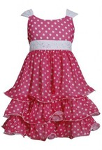 Fuchsia-Pink White Sequin Waist Dotted Tier Chiffon Dress FU3BU, Fuchsia, Bon...
