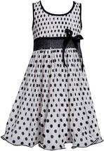 Black White Sequin Waist Crystal Pleat Dotted Chiffon Dress BW3BU, Black/Whit...
