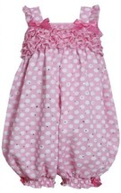 Pink and White Dots and Ruffles Sparkle Chiffon Romper PK0CH, Pink, Bonnie Je...
