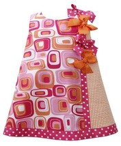 Fuchsia-Pink Orange Dotted Bows Geometric Print Shift Dress FU1HB, Fuchsia, B...