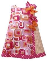 Fuchsia-Pink Orange Dotted Bows Geometric Print Shift Dress FU2HA, Fuchsia, B...