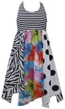 Black White Color Block Mix Print Hanky Hem Chiffon Dress BW3SA, Black/White,...