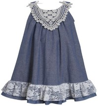 Blue White Bow Shoulder Lace Chambray Trapeze Dress BL2HA, Blue, Bonnie Jean ...