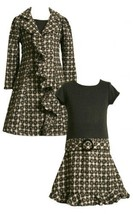 Bonnie Jean Girls 4-16 Grey Black Casccade Ruffle Boucle Dress/Coat Set (4, G...