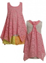 Size-5, Pink, BNJ-2061S, Pink Colorblock Lace and Stripe Racerback Dress,Bonn...