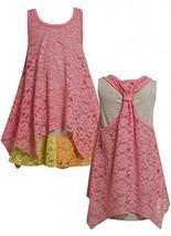 Size-6, Pink, BNJ-2061S, Pink Colorblock Lace and Stripe Racerback Dress,Bonn...