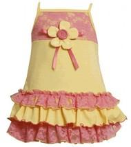 Size-2T, Yellow, BNJ-2071S, Yellow/Pink Knit and Lace Ruffle Dress,Bonnie Jea...