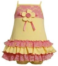 Size-3/6M, Yellow, BNJ-2071S, 2-Piece Yellow/Pink Knit and Lace Ruffle Dress,...