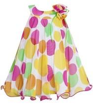 Yellow Pink U-Neck Multi Dot Mesh Overlay Trapeze Dress YL2HA, Yellow, Bonnie...