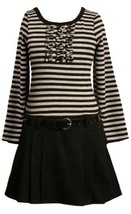 Grey Black Stripe Solid Pleated Drop Waist Dress GY3SX,Bonnie Jean Little Gir...