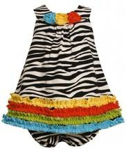 Size-3/6M, Black/White, BNJ-2111M, 2-Piece Multicolor Ruffle Border Zebra Str...