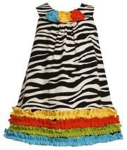 Size-2T, Black/White, BNJ-2111M, Multicolor Ruffle Border Zebra Stripe Knit D...