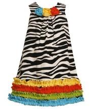 Size-6X, Black/White, BNJ-2111M, Multicolor Ruffle Border Zebra Stripe Knit D...