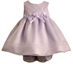 Lavender-Purple Bias Ribbon Rosette Waist Organza Dress LV1HB, Bonnie Jean Ba...