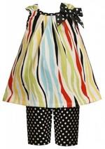 Size-18M, Multi, BNJ-2115M, 2-Piece Multicolor Zebra Stripes and Dots Knit Dr...