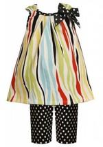 Size-2T, Multi, BNJ-2115M, 2-Piece Multicolor Zebra Stripes and Dots Knit Dre...