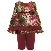 Size-24M BNJ-2144B 2-Piece BURGUNDY-RED BROWN GREEN Floral Animal Print Fuzzy...