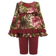 Size-18M BNJ-2144B 2-Piece BURGUNDY-RED BROWN GREEN Floral Animal Print Fuzzy...