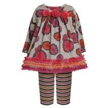 Size-0/3M BNJ-2186B 2-Piece GREY PINK ORANGE Pom-Pom Floral Print Fuzzy Knit ...