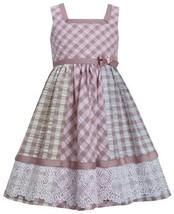 Brown Multi Check Colorblock Lace Border Seersucker Dress BR3SA, Brown, Bonni...