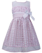 Pink White Twin Check Eyelet Trim Seersucker Dress PK3BU, Pink, Bonnie Jean L...