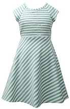 Aqua Ivory Sequin Bodice Cross Over Back Stripe Knit Dress AQ3SA, Aqua, Bonni...