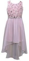 Pink Belted Sequin Bonaz High-Low Chiffon Social Dress, PK3BU, Pink, Bonnie J...
