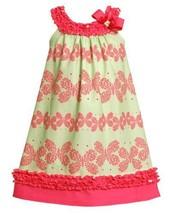 Size-4, Green, BNJ-2209M, Green/Pink Butterfly Stripe Ruffle Trim Knit Dress,...
