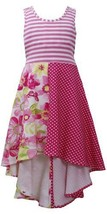 Pink T-Back Stripe Colorblock Print High Low Knit Dress PK3BU, Pink, Bonnie J...