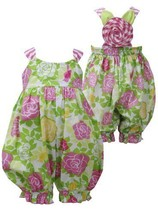 Pink Green Crossover X-Back Rose Floral Print Romper PK1MH, Pink, Bonnie Jean...