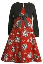 Size-4 BNJ-4413B 2-Piece RED BLACK WHITE ROSE FLORAL PRINT Special Occasion F...