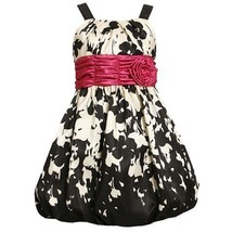 Size-5 BNJ-4448B BLACK WHITE PRINTED SHANTUNG BUBBLE SKIRT Special Occasion W...
