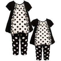 Size-18M BNJ-5314B 2-Piece BLACK WHITE Polka Dot Panel Ruffle Front Bubble He...