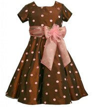 Size-5, Brown, BNJ-5461X, Brown and Pink Embroidered Dot Taffeta Dress,Bonnie...