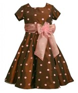 Size-5, Brown, BNJ-5461X, Brown and Pink Embroidered Dot Taffeta Dress,B... - $52.67
