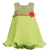Size-24M, Green, BNJ-2295S, 2-Piece Green Striped Knit to Pleated Chiffon Wir...
