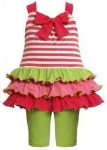 Size-18M, Fuchsia, 2-Piece Bow Front Stripes to Tiers Knit Legging Set,Bonnie...