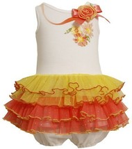 Size-3/6M, Multi, BNJ-2319M, Glitter and Sequin Floral Screen Print Tiered Me...