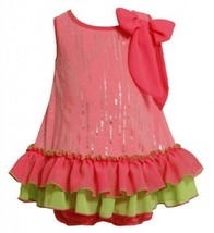 Size-18M, Pink, BNJ-2331S, 2-Piece Neon-Pink and Green Foil Dot Tiered Ruffle...