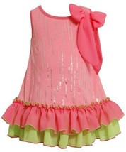 Size-2T, Pink, BNJ-2331S, Neon-Pink and Green Foil Dot Tiered Ruffle Hem Bow ...