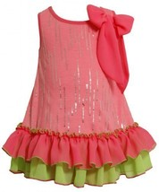 Bonnie Jean Girls 2-6X Neon Foil Dress, PK2HA-Pink [Apparel]