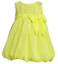 Size-2T, Yellow, BNJ-2333S, Neon-Yellow Foil Dot Knit to Chiffon Bubble Dress...