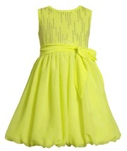 Size-4, Yellow, BNJ-2333S, Neon-Yellow Foil Dot Knit to Chiffon Bubble Dress,...