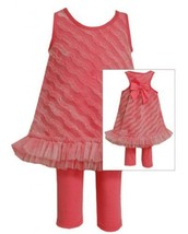 Size-2T, White, BNJ-2357S, 2-Piece Fuchsia-Pink Bias Ruffle Mesh Dress and Le...