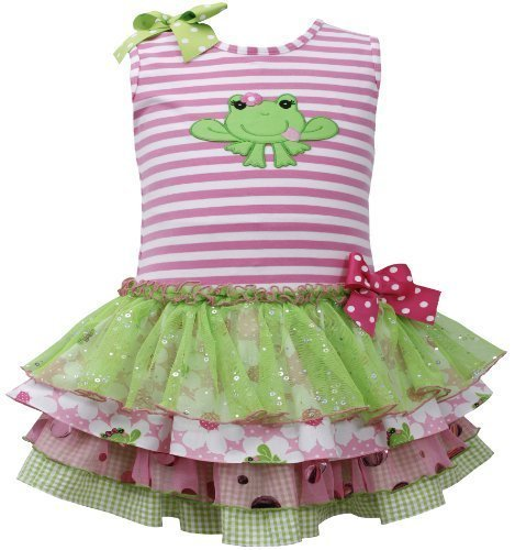 Pink Green Frog Applique Stripe Knit Mix Print Tier Dress PK0SA, Pink, Bonnie...