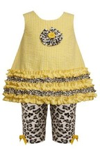 Size-12M, Yellow, BNJ-7532R 2-Piece Ruffle Border Seersucker Dress and Leopar... - $30.49